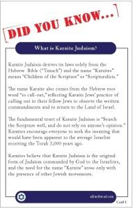 Karaite Fact Card 1 Back (What is Karaite Judaism) With Border
