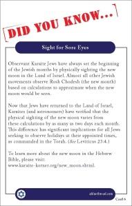 Karaite Fact Card 6: Sight for Sore Eyes