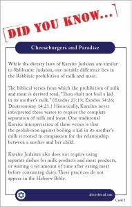 Karaite Fact Card 2: Cheeseburgers and Paradise (Back)