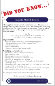 Karaite Fact Card 8 (Back): Karaite Matzah Recipe